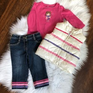 Gymboree 3 piece set with puffer vest , 12-18 mo.